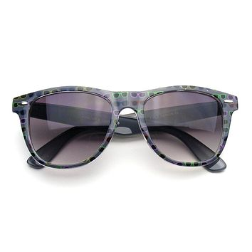 Emblem Eyewear - Retro Indie Fun Pattern Color Assorted Print Horned Rim Sunglasses