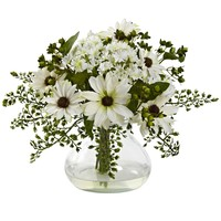 Artificial Flowers -Mixed White Daisy Arrangement With Vase Silk Flowers