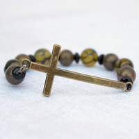 Antique Gold and Amber Yellow Crackle Agate Beaded Sideways Cross Stretch Bracelet  - Christian Jewelry - Ready to Ship