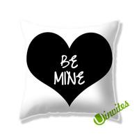 Black Love Be Mine Square Pillow Cover