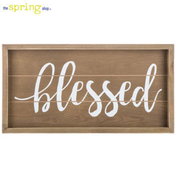 Brown & White Blessed Wood Wall Decor   Hobby Lobby   5832837