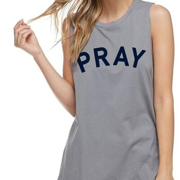 Pray Sleeveless Tank in Charcoal