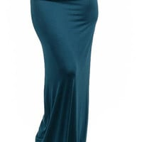 Jade Green Fold over Maxi Skirt