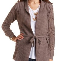 Belted Open Stitch Cardigan by Charlotte Russe