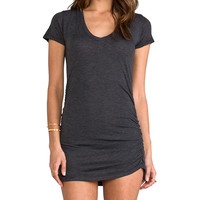 Saint Grace Rayon Jersey V Neck with Shirring Dress in Charcoal