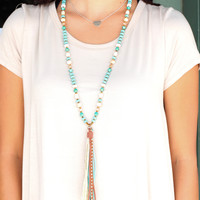 Turquoise Beads + Leather Tassel Necklace