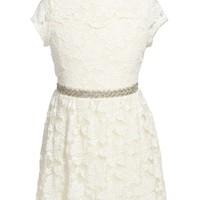 Girl's Monteau Couture Lace Illusion Dress
