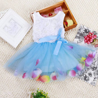 New Toddler Baby Kids Girls Princess Party Tutu Lace Bow Flower Dresses Clothes