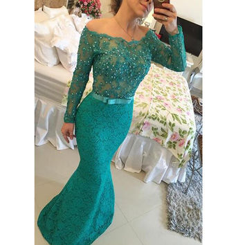 Mermaid Prom Dress In Lace pst0663