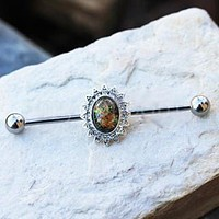 316L Stainless Steel Industrial Barbell with Glass Stone Flower