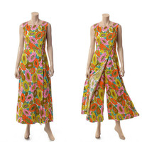 Vintage 60s Alex Coleman Mod Palazzo Jumpsuit 1960s Groovy MCM Carnaby Street Floral Wide Leg Pants Maxi Playsuit Dress / Ladies size M