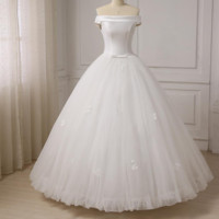 Satin and Tulle Bridal Wedding Dresses Ball Gown Long Wedding Dresses