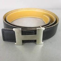 Auth HERMES H Belt Black LightBrown Leather & Metallic Material Square G Belt