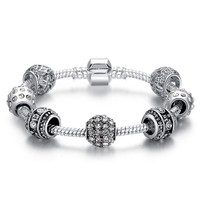 Fashion Women Bracelet 925 Silver Crystal Bead Charm Bracelet For Women Fine Jewelry Original Bracelets Gift PS3005