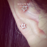 16g CZ Sparkly Mini flower Barbell Ear Piercing Stud, cartilage earring tragus helix conch / Sold as 1 piece/ labret bar(optional)
