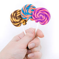 2 TWO Lollipop erasers - fun shape - cute school supplies- made in your choice of colors