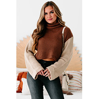 Getting Reacquainted Turtle Neck Color Block Sweater (Camel/ Taupe)