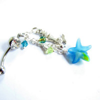 Blue Starfish Belly Button Jewelry Long Dangle Mermaid and Star Fish Belly Ring