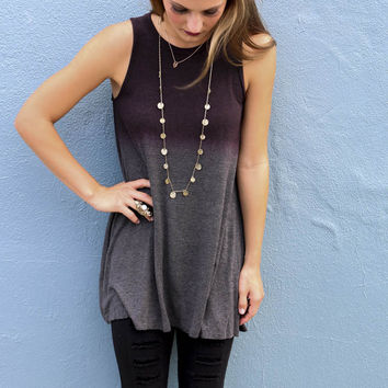 Nothing But Time Burgundy Dip Dye Sleeveless Ombre Tunic Top