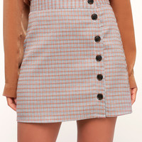 Plaid To Be Here Rust Red and Grey Plaid Mini Skirt