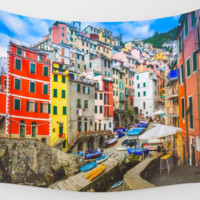 Riomaggiore Cinque Terre Italy Wall Art Tapestry Perfect for Living Room or Bedroom