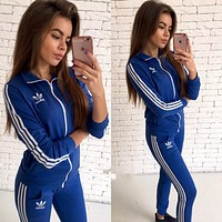 ADIDAS Woman Men Fashion Sport Cardigan Jacket Coat Pants Trousers Set Two-Piece