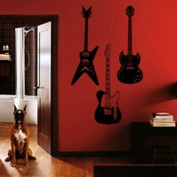 ik792 Wall Decal electric bass guitar star music song artist notes chords rock