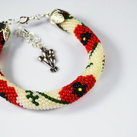 poppies,  Beads bracelet, Jewelry, Bracelets, Beadwork, Bracelet, Beaded