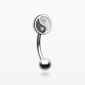 Classic Yin Yang Sparkle Curved Barbell