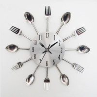 New Design Happy Gifts Fashion Creative Modern Design Sliver Cutlery Kitchen Utensil Wall Clock Spoon Fork Clock