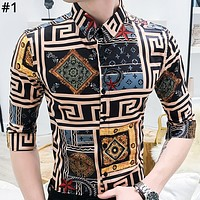 LV Tide brand man personality floral casual half sleeve shirt