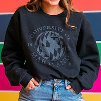 University of Maryland Flag Globe in Grey (Black) / Crew Sweatshirt