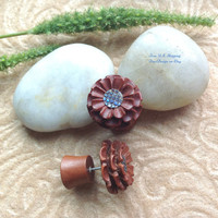"""Faux Gauges, Fake Plugs, """"Flowers"""" Natural, Saba Wood, Paua Shell, Hand Carved, Tribal"""