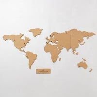 Corkboard Map by Anthropologie Brown One Size House & Home