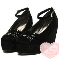 Sweet Soul Shop | Sneaky Kitty Platform Wedges | Online Store Powered by Storenvy
