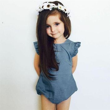 Top Quality Denim New Baby Rompers Ruffles Sleeveless Cotton O-Neck Novel Newborn Girls Jeans Jumpsuits Roupas Baby Clothes