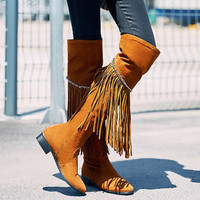 Thigh High Boots With Fringe and Chains Design