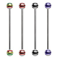316L Surgical Steel Industrial Barbell with Three Striped Balls