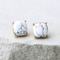 Marvel to Behold Gold and White Earrings