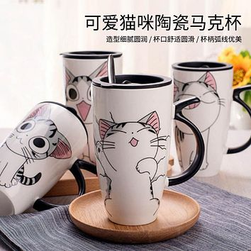 Cute Cat Cup Ceramic Mug With Lid Spoon Water Cup Large Capacity Couple Coffee Cup Milk Breakfast Cup