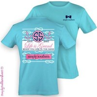 Simply Southern Collection Life is Grand Anchor T-Shirt in Sky Blue