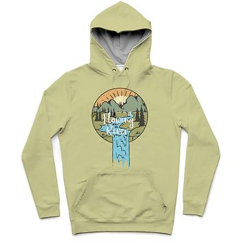 Flowing River Trendy All-Over Print Solid Green Mist Hoodie