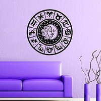 Wall Decal Sun Moon Crescent Dual Ethnic Stars Night Symbol Zodiac Signs Vinyl Sticker Decals Home Decor Design Mural Bedroom MN536