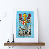 Tarot Print Judgement Retro Illustration Art Rider Print Vintage Giclee on Cotton Canvas or Paper Canvas Poster Wall Decor