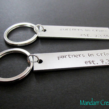 Partners in Crime Keychains with Anniversary Dates, Fully Personalized, His Hers, Couples Accessory, Hand Stamped Aluminum Key Chains