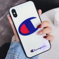 Champion tide brand glass shell iphone7plus tempered glass mobile phone case cover White