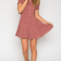 Apollo Printed Shirt Dress in Red