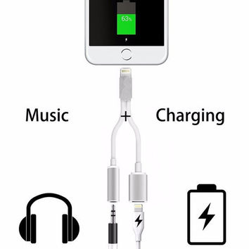 2 in 1 USB Charging Charger Adapter For iPhone 7 iPhone7 Plus Headphone Jack AUX Cable Lighting to DC 3.5mm Audio Converter