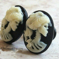 Zombie Cameo Plugs for Gauged Ears Sizes 1/2 Inch, 7/16 Inch, 00, 0, 2, 4, 6, 8, 10, 12, 14 gauge, Also For Pierced Ears