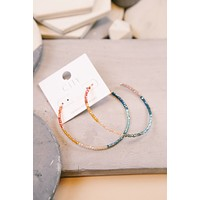 Beaded Hoop Earring, Rainbow